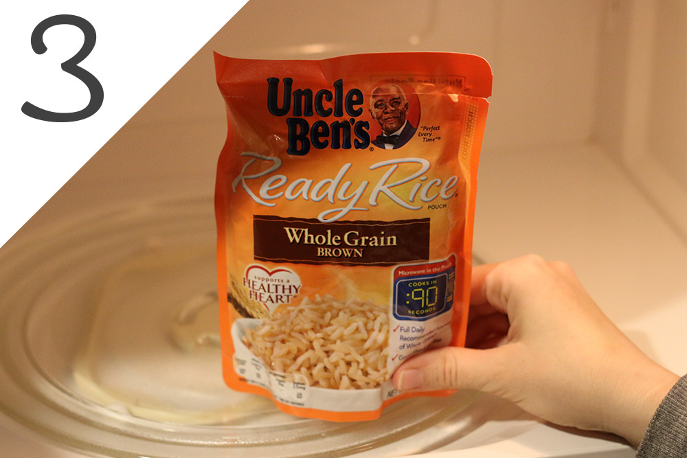 3. Heat brown rice in microwave.