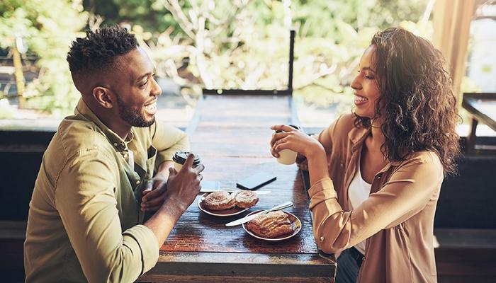 African american heterosexual couple on casual dinner date