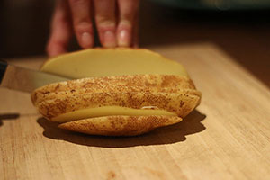 Slicing potatoes further | healthy grilled cheese recipe