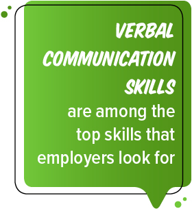 Verbal communication skills are among the top skills that employers look for