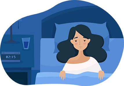 sick girl in bed vector