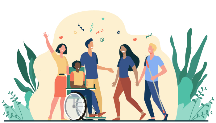 illustration of inter-abled people | guide to independent living for people with disabilities