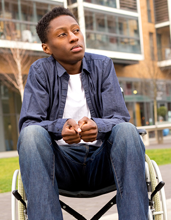 black student in wheel chair