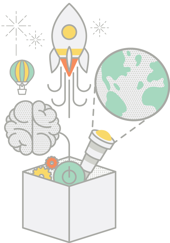 Illustration of creative icons including rocket and brain emerging from box
