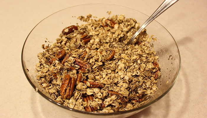 Dry and wet granola ingredients mixed