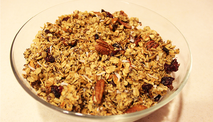 Toasted granola in glass bowl