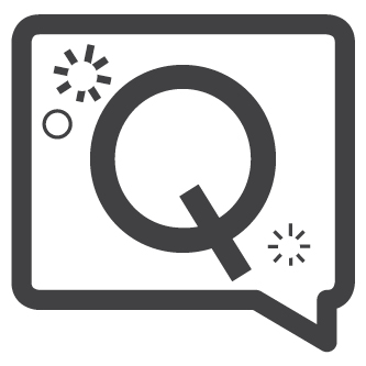 """Q"" inside speech bubble"