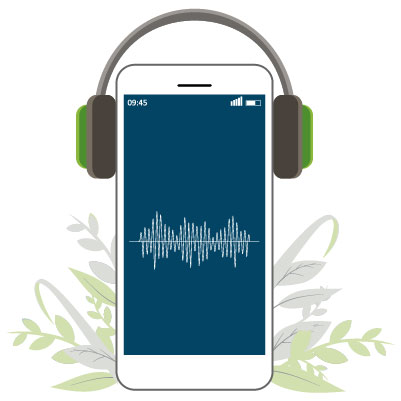 mobile device and headphones | forest bathing benefits