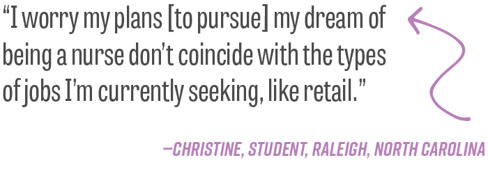 """I worry my plans [to pursue] my dream of being a nurse don't coincide with the types of jobs I'm currently seeking, like retail.""—Christine, student, Raleigh, North Carolina"