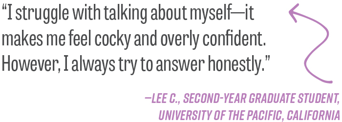"""I struggle with talking about myself—it makes me feel cocky and overly confident. However, I always try to answer honestly."" —Lee C., second-year graduate student, University of the Pacific, California"