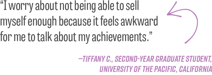 """I worry about not being able to sell myself enough because it feels awkward for me to talk about my achievements."" -Tiffany C., second-year graduate student, University of the Pacific, California"