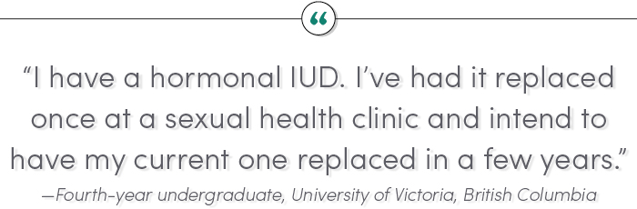 """I have a hormonal IUD. I've had it replaced once at a sexual health clinic and intend to have my current one replaced in a few years."" —Fourth-year undergraduate, University of Victoria, British Columbia"