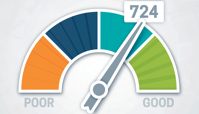 Credit score gauge set between poor and good at 724