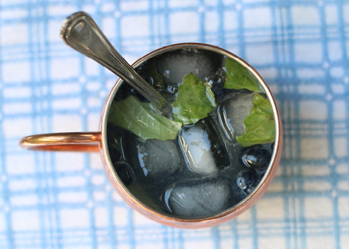 Ginger beer, blueberries, and mint mixed in mug