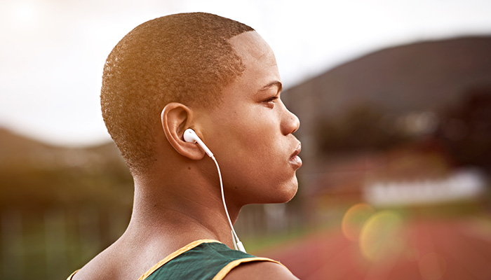 athlete hearing headphones