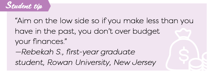 "Student tip: ""Aim on the low side so if you make less than you have in the past, you don't over budget your finances."" -Rebekah S., first-year graduate student at Rowan University in New Jersey"