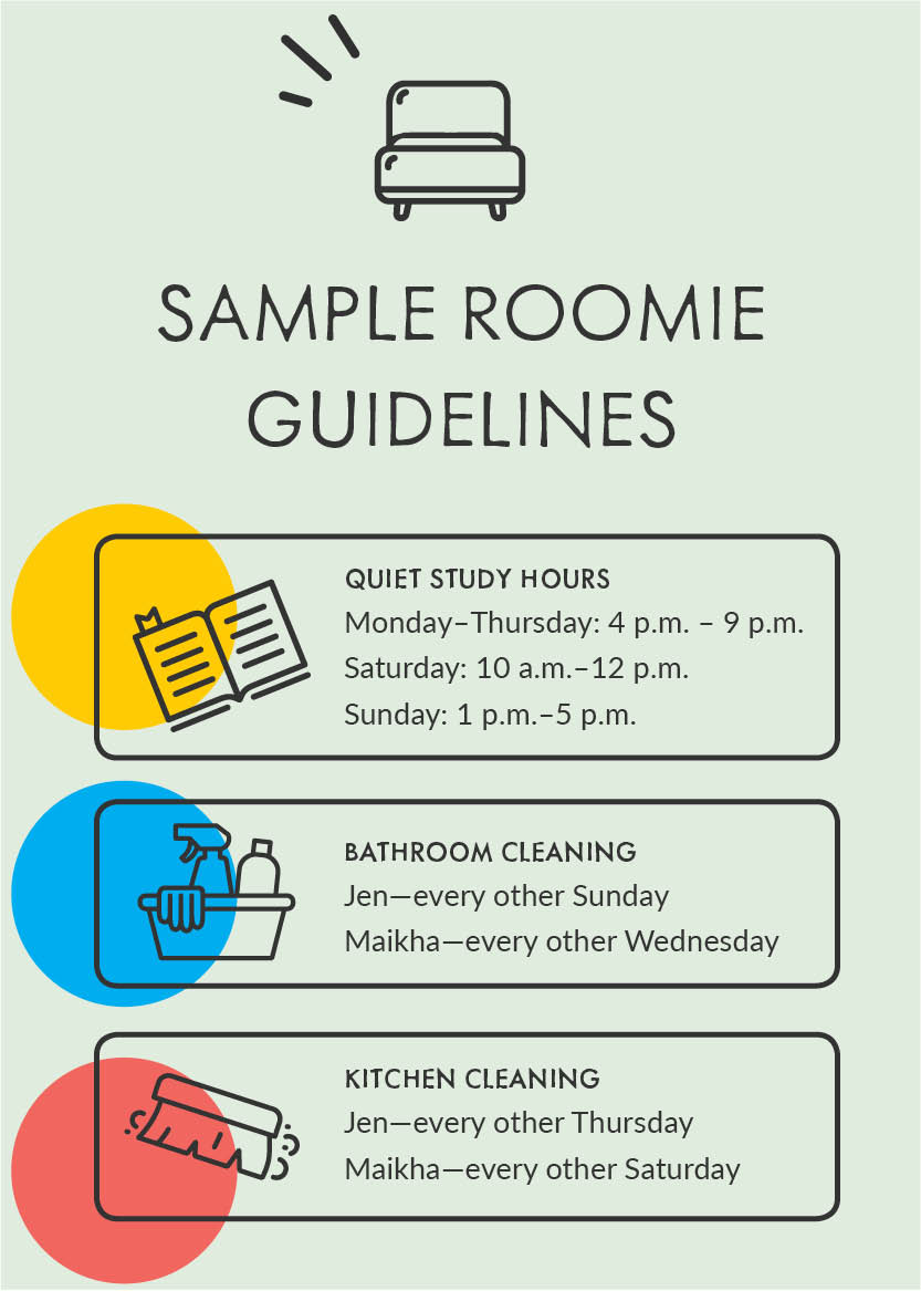 Sample roomie guidelines: Quiet study hours Monday–Thursday: 4 p.m. – 9 p.m. Saturday: 10 a.m.–12 p.m. Sunday: 1 p.m.–5 p.m. Bathroom cleaning: Jen—every other Sunday Maikha—every other Wednesday  Kitchen cleaning: Jen—every other Thursday Maikha—every other Saturday