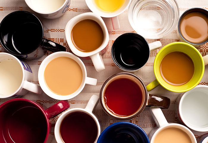Several cups with different drinks