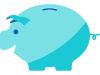 Blue piggy bank vector