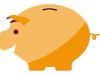 Yellow piggy bank vector