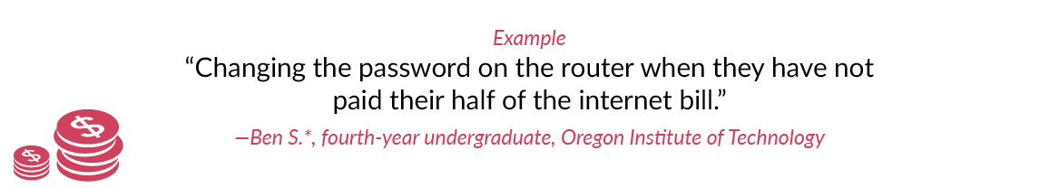 "Example: ""Changing the password on the router when they have not paid their half of the internet bill."" -Ben S.*, fourth-year undergraduate, Oregon Institute of Technology"