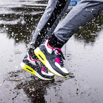sneakers in rain