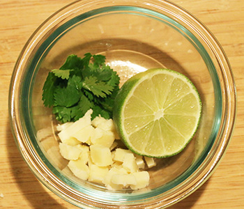 Lime, cheese, and cilantro