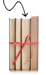 books tied with a bow