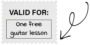 "homemade coupon saying ""Valid for one free guitar lesson"""