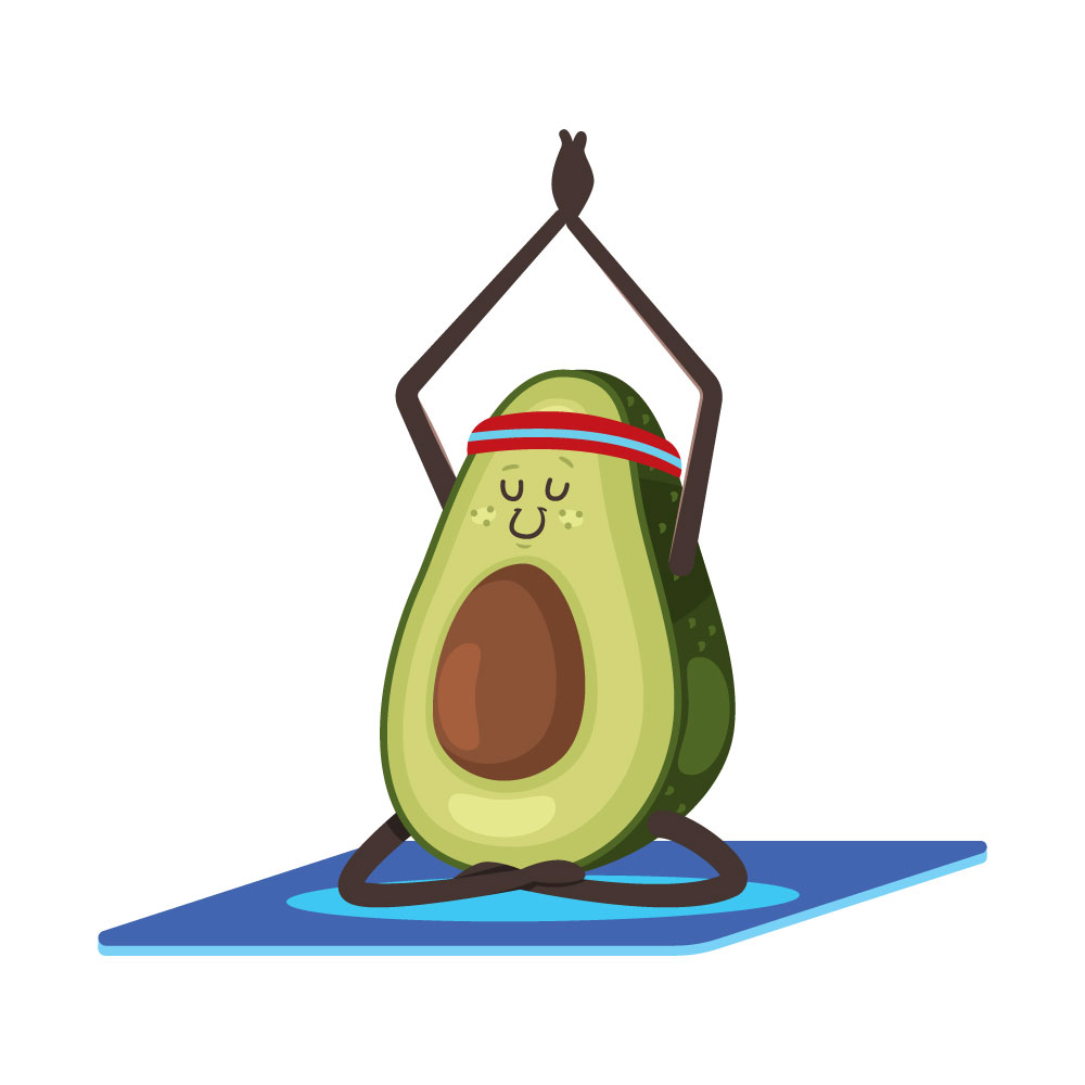 avocado doing yoga