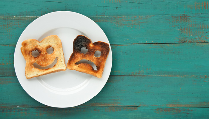 sad burnt toast and happy perfect toast