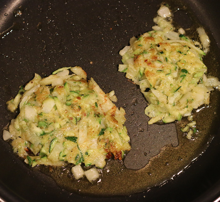 latke patties in pan