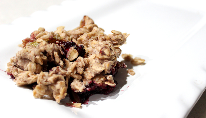 prepared apple berry crisp on plate