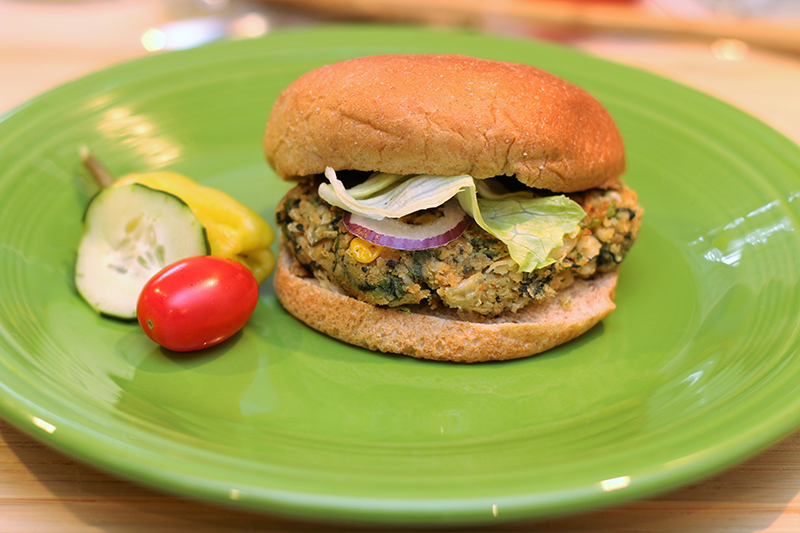 plated veggie burger