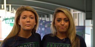 Two female Endicott students