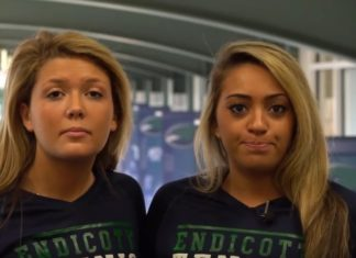 Two female Endicott students