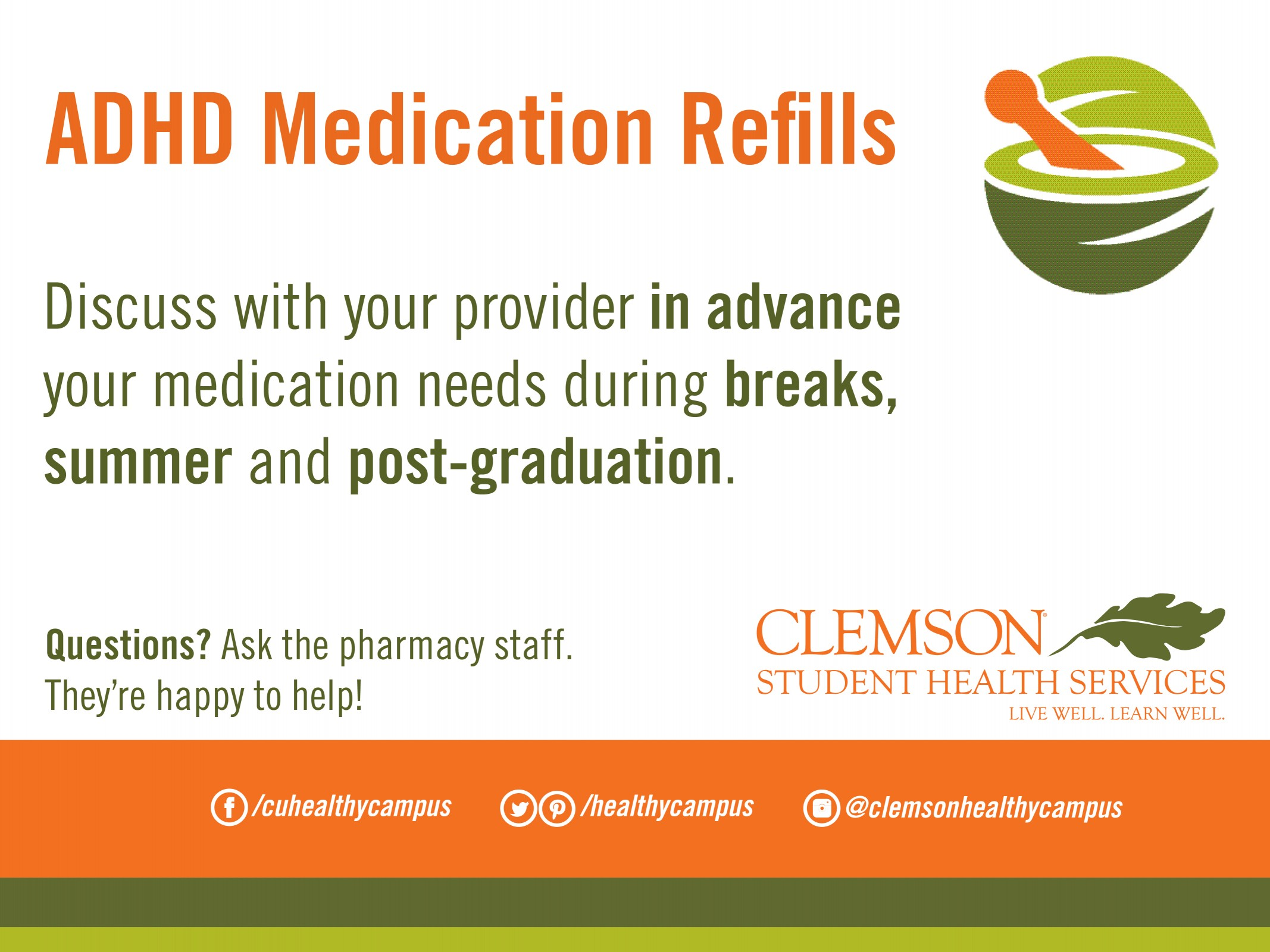 Talk to your provider in advance about ADHD medication refills