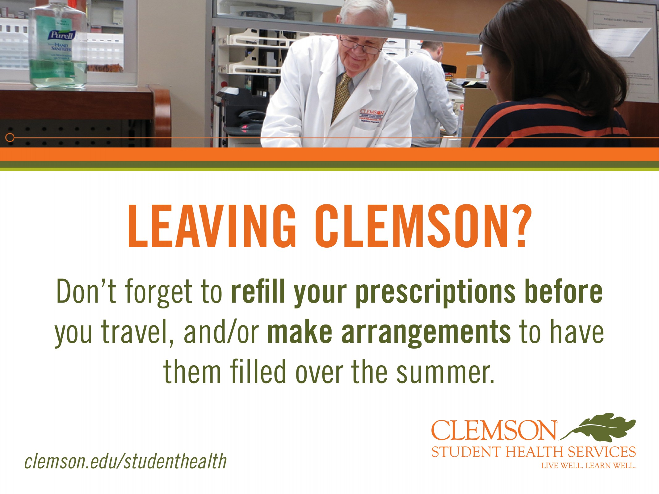 Refill your prescriptions in Redfern's pharmacy before you leave Clemson