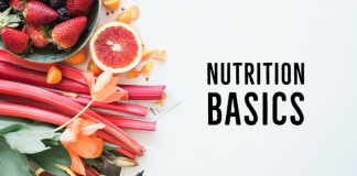 red, orange and coral fruits shown with the title Nutrition Basics