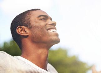 Happy man outside