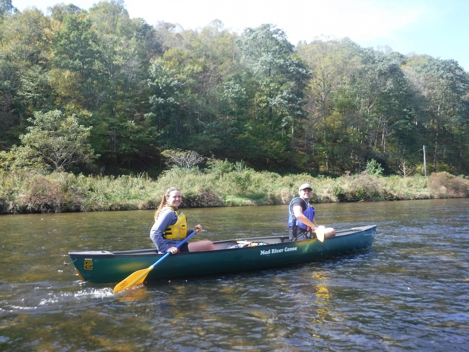 Two students canoeing