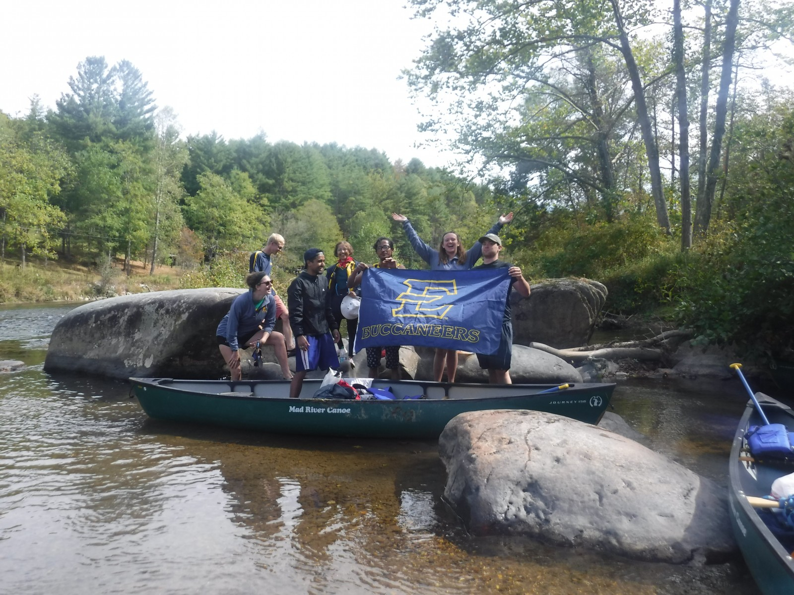 Group of students canoeing