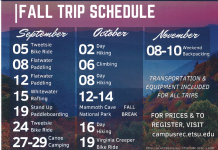 ETSU Fall Trip Schedule