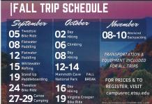 ETSU Fall Trip Schedule
