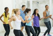 Group of people in a Zumba class