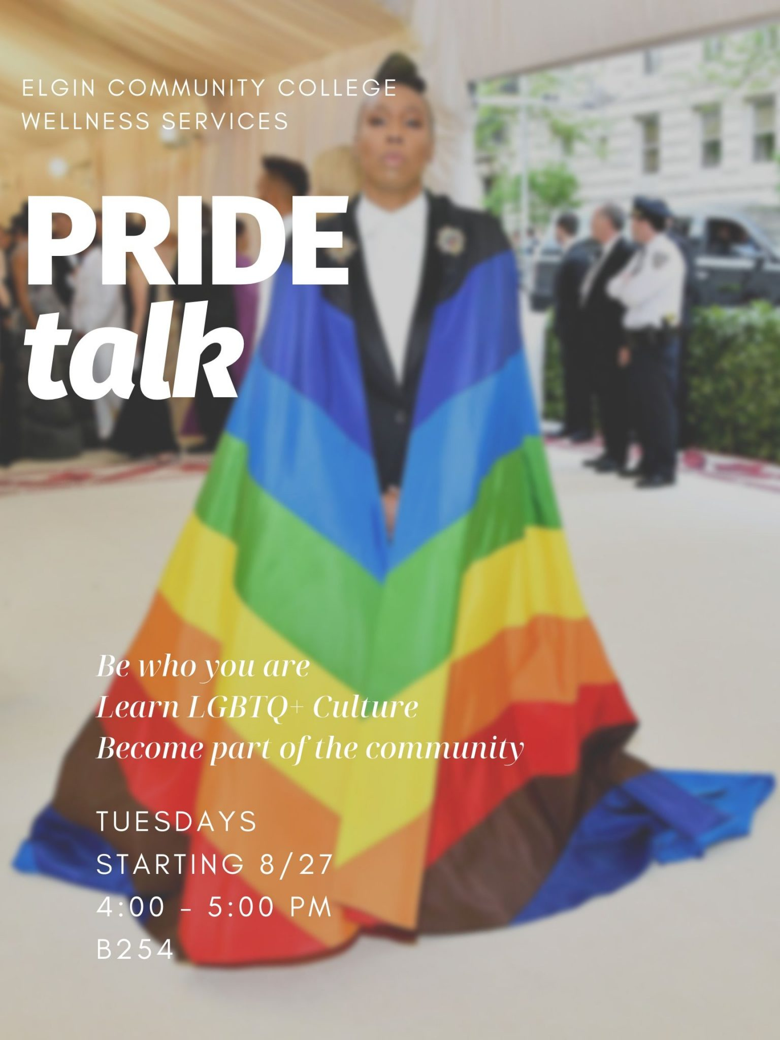 Pride Talk Support Group, Black lady wearing rainbow cape with support information.