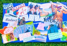 vision board on grass