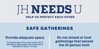 Informational flyer discussing safer ways to gather during COVID-19.
