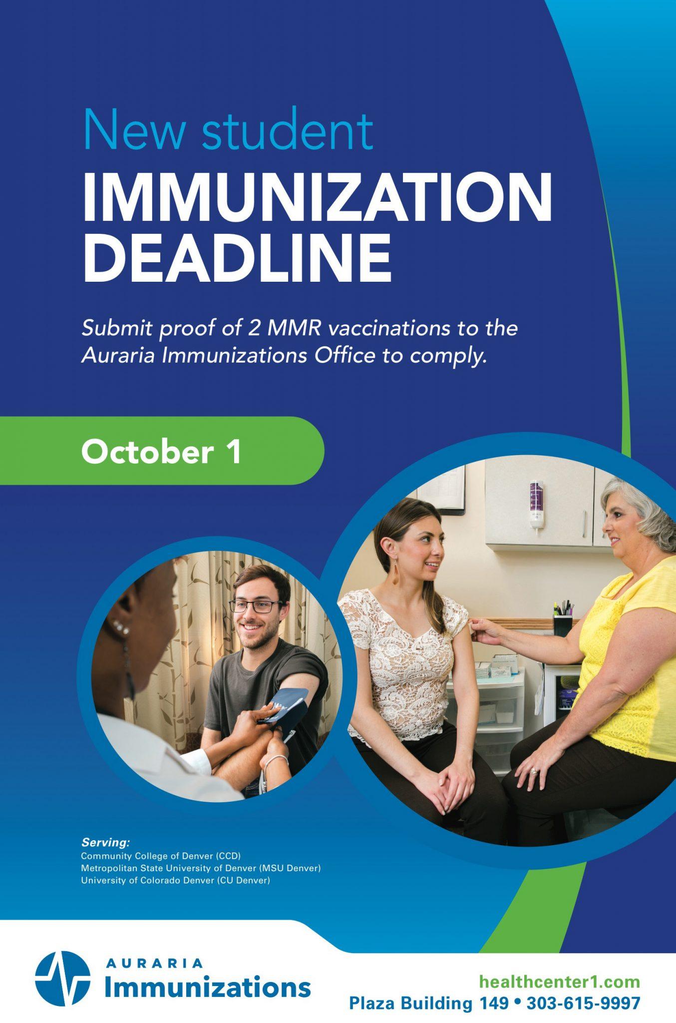 New Student Immunization Deadline