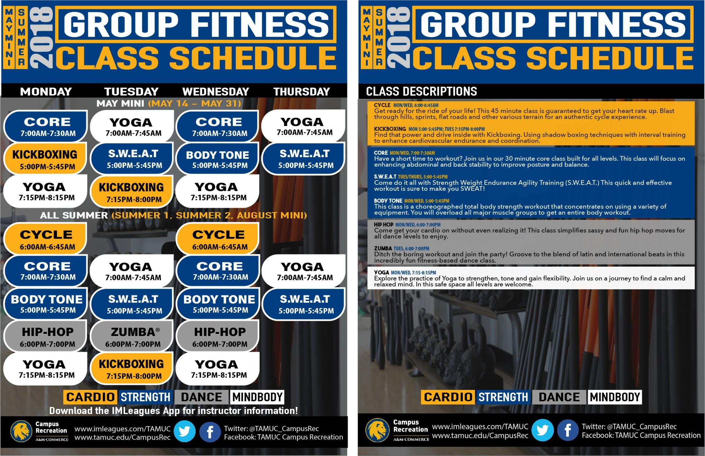 Summer Group Fitness Class Schedule